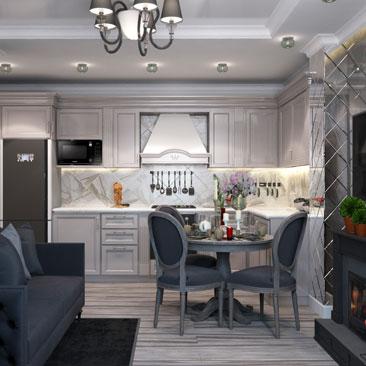 Гостиная, совмещенная кухней серого цвета
