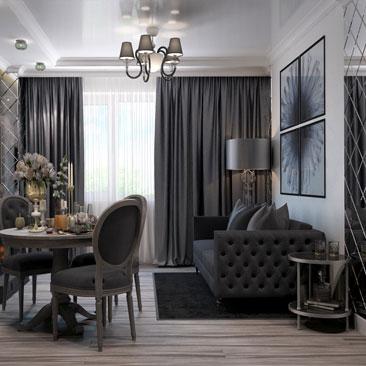 Чёрная гостиная фото.