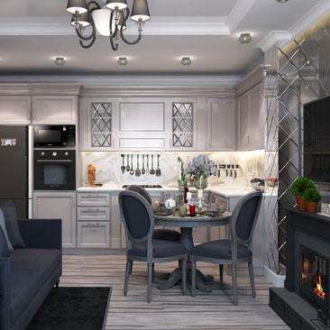 Дизайн интерьера кухни в классическом стиле: фото.