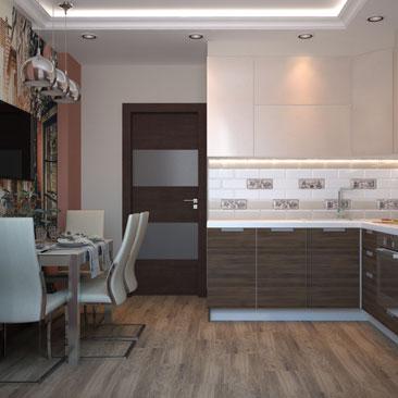 Интерьер кухни в современном стиле.