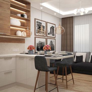 Фото интерьера кухни в современном стиле.