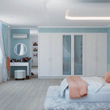 Голубая спальня 2018: фото и идеи интерьера.