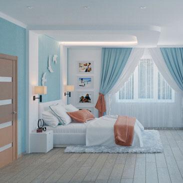 Голубая спальня — фотографии необычного дизайна в спальне.