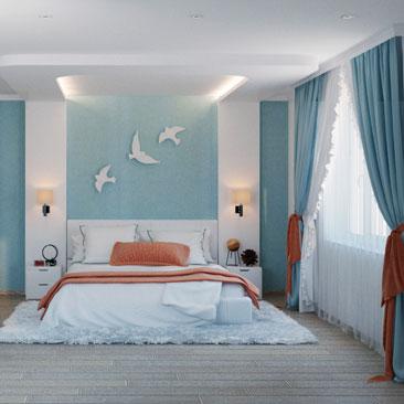 Большая спальня - дизайн интерьера.