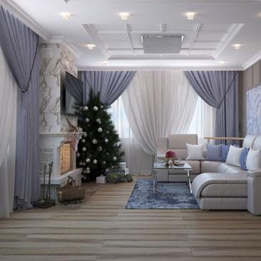 Интерьер для частного дома гостиной.