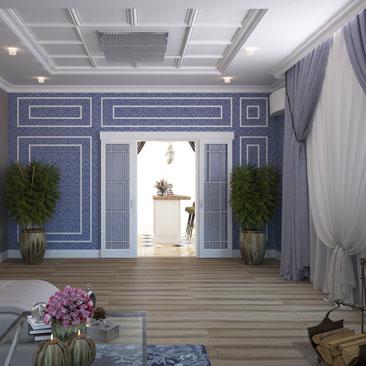 Проектирование: дизайн большой гостиной с двумя окнами.