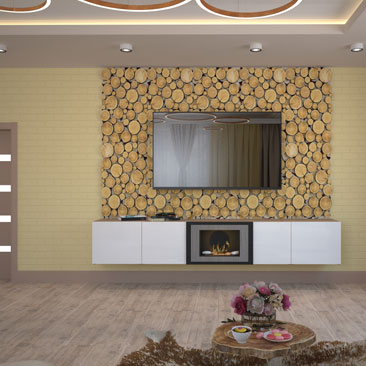 Декор стены с телевизором.