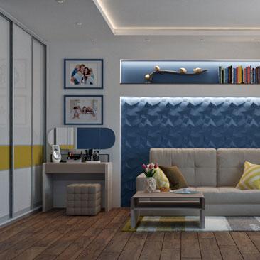 Синяя гостиная - проект 2018.
