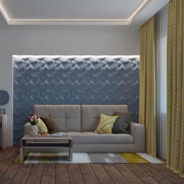 Голубые стены в гостиной.