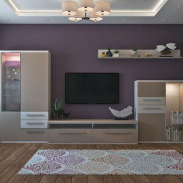 Дизайн-проект: гостиная с сиреневыми стенами.
