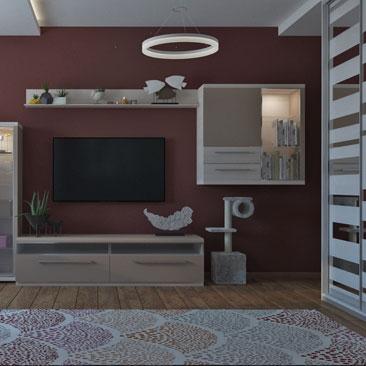 Вишневый цвет в интерьере – дизайн, фото.