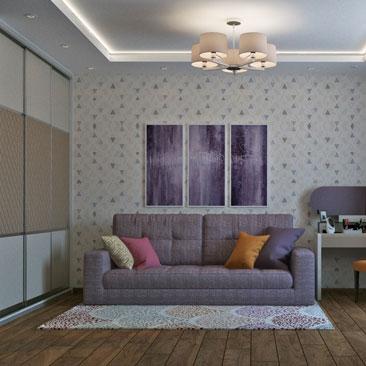 Интерьер небольшой гостиной в маленькой квартире - проект 2018.