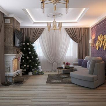 Дизайн большой гостиной.