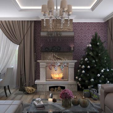 Проект гостиной в частном доме 2018