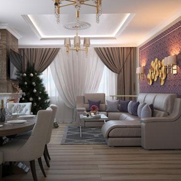 Дизайн большой гостиной в коттедже.
