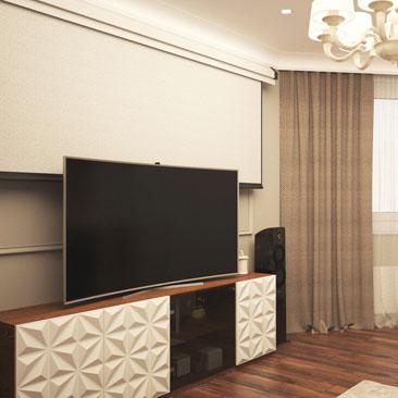 Дизайн интерьера зала в спокойных тонах
