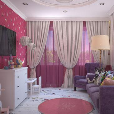 Классическая розовая детская комната.
