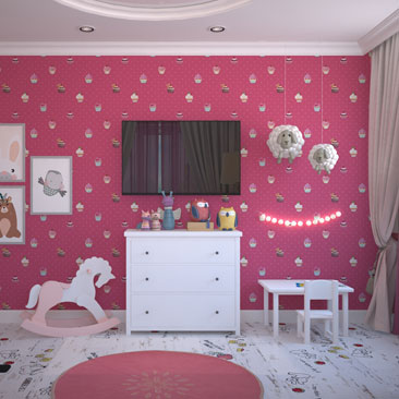 Розово-белая детская комната.