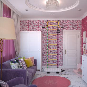 Розовая и лиловая детская комната.