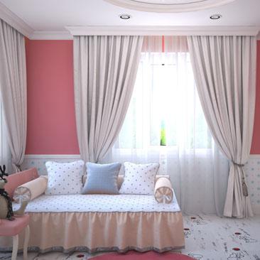 Розовая детская комната - проект 2018 года.