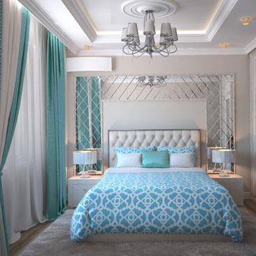 Голубая спальня фото 2018.