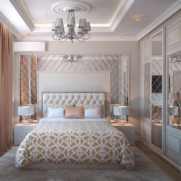 Дизайн спальни в персиковых оттенках.