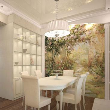 Дизайн кухни с очень широким проёмом в гостиною. Дизайн кухни с входным проёмом 2,5 метра. Классическая кухня в молочных оттенках с натяжным потолком и фреской. Дизайн интерьера в Мельбурне. Дизайн частных и коммерческих интерьеров Мельбурн.