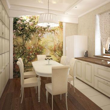 """Интерьер кухни с фотообоями. Дизайн кухни - плитка возле кухонного гарнитура выложена в одну плитку по периметру. Классическая кухня цвета """"слоновая кость"""" со столешницей шоколадного цвета в интерьере кухни с окнами. Дизайн интерьера Сидней. Дизайн квартир и домов в Сиднее."""