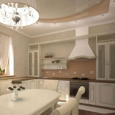 Очень длинный классический кухонный гарнитур молочного цвета г-образной формы - фото размещения в интерьерах. Кухня с классической вытяжкой - фото оформления интерьеров. Кухня в сельском стиле. Интерьер кухни в доме фото.