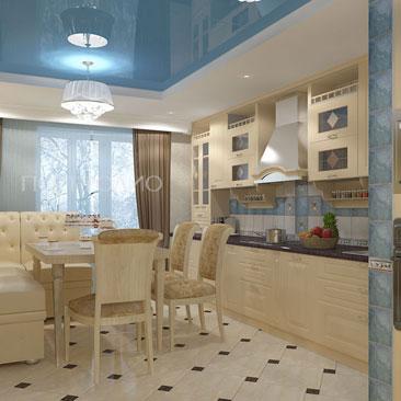 Глянцевый потолок синего цвета в интерьере классической кухни. Столовая обеденная группа с угловым диваном в классическом стиле в бежево-голубой кухне. Бежевая классическая кухня с голубым потолком и коричневыми шторами.