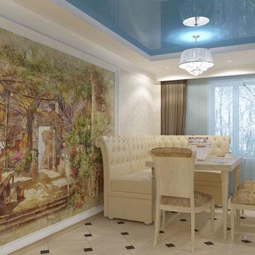 Кухня в классике с фреской и голубым натяжным потолком. Глянцевый натяжной потолок голубого цвета в интерьере кухни фото. Синий натяжной потолок в кухне фото интерьеров. Дизайн интерьера Наманган. Дизайн коттеджей Наманган.