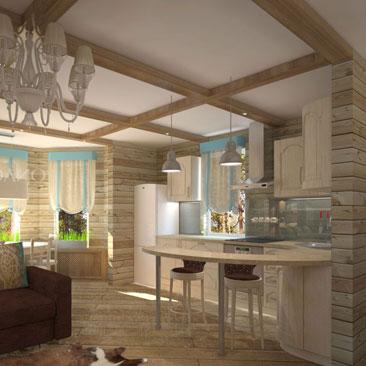 Деревянные элементы на потолке кухни-столовой-гостиной цвета Орех сочетаются с коричневым диваном и голубыми шторами в эркере с 3 окнами. Дизайн интерьера заказать в Казани. Фреска - интересная деталь кухни-гостиной. Гостиная с камином - немного роскоши в уютном интерьере. Интерьер гостиной - сочетание современности и Прованса. Эклектичный Прованс в кухне-гостиной с барной стойкой фото. Дизайн гостиной Тбилиси. Дизайн интерьера гостиных Ереван.