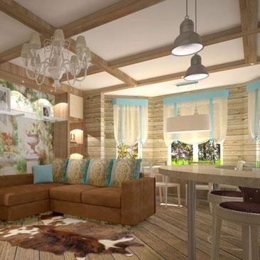 Кухня, совмещенная с гостиной - больше пространства и воздуха. Интерьер гостиной, совмещенной с кухней и столовой. Рыжевато-коричневый диван с голубыми подушками в деревянном доме с фальш-белками на потолке. Дизайн интерьера заказать в Москве. Деревянные балки на потолке гостиной сочетаются с фреской и голубыми нотками цвета в интерьере.