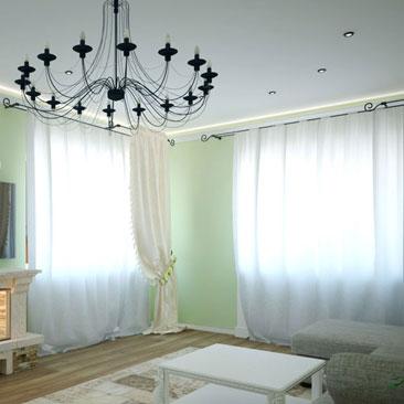 Дизайн Воронеж интерьеры. Люстра с большим количеством плафонов в дизайне гостиной с 2 окнами на смежных стенах. Светло-зеленая краска на стенах в гостиной сочетается с белыми шторами, белой корпусной мебелью и серым диваном.