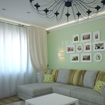 Дизайн гостиницы Воронеж. Серый диван сочетается с нежно-фисташковыми стенами под покраску, белыми шторами и картинами в белых рамах. Чёрная металлическая люстра в интерьере гостиной в серо-фисташково-белых тонах.