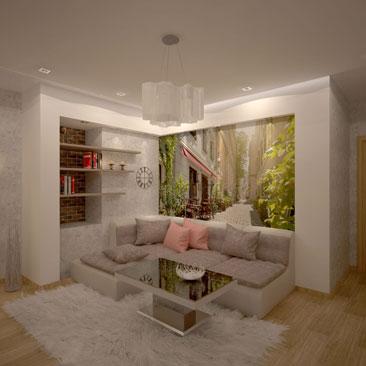 фотообои над диваном: