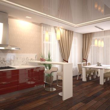 """Паркетная доска цвета """"тёмный дуб"""" в сочетании с белой мебелью, бардовой кухней, бежевыми стенами и бежевым глянцевым потолком в интерьере кухни-гостиной большой площади. Дизайн интерьера квартир и коттеджей в Новокузнецке. Белая барная стойка простой формы сочетается с красной кухней, белым фартуком и белой столешницей."""