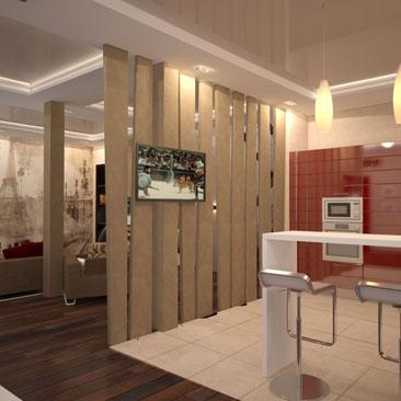 Дизайн интерьеров кухонь Гомель. Сквозная декоративная перегородка с просветами из дерева в интерьере большой гостиной-кухни. Бардовая кухня в интерьере кухни-гостиной в ванильно-шоколадной гамме. Фартук с рисунком панорамы старого города коричневыми линиями на белом фоне в интерьере кухни-гостиной.