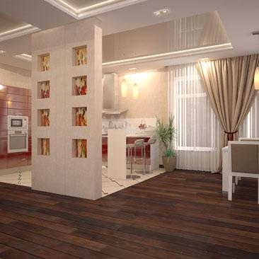 Дизайн интерьера кухни Гродно. Красная кухонная стенка в бежево-коричневом интерьере большой кухни-гостиной-столовой. Тёмная паркетная доска переходит в светлую плитку под углом 45 градусов фото интерьеров. Дизайн потолков в большей общей зоне - гостиной-кухне-столовой-холле.