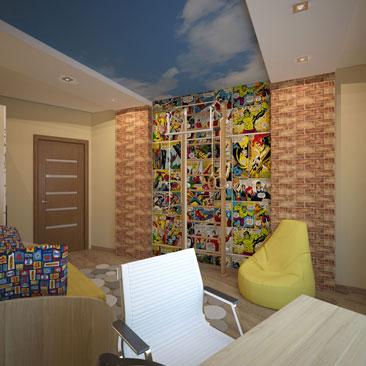 Детская со светлыми полами. Дизайн детской для мальчика цветовая гамма - синий, жёлтый и основной бежевый. Интерьер комнаты для мальчика, цвет стен - бежевый. Дизайн интерьера Хьюстон. Дизайн детской цветовое решение - бежевый, жёлтый и синий.