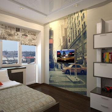 Комната подростка - 1000 идей интерьеров, разные стили, фото комнат с несколькими ракурсами. Детская комната для мальчика подростка 12-17 лет - фото интерьеров. Дизайн комнаты для мальчика-подростка - уникальные и оригинальные идеи, которые Вы можете легко применить у себя дома. Дизайн интерьера Нант. Интерьер детской для подростка с фотообоями дневного Нью-Йорка. Детская комната с чёрно-белой мебелью.