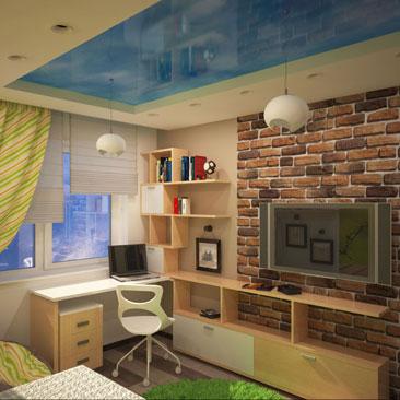 Детская комнаты 10 кв.м. с телевизором, обычной одноярусной кроватью и учебным столом под окном справа. Дизайн интерьера детских, со стенами окрашенными в 2 цвета - белый и бежевый. Дизайн интерьера Филадельфия.