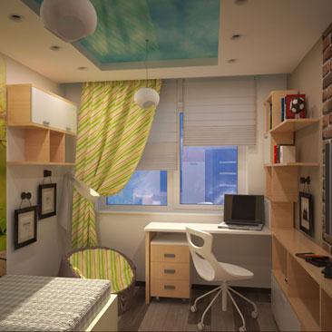 Дизайн детской с белыми окрашенными стенами, бело-бежевой мебелью, серым ламинатом и стеной из коричневого декоративного состаренного кирпича. Дизайн детской с 2 люстрами - фото интерьеров. Дизайн интерьера Лион. Дизайн загородного дома в Лионе.