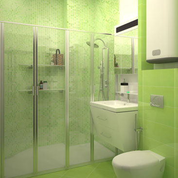 Дизайн туалета с большой душевой кабиной