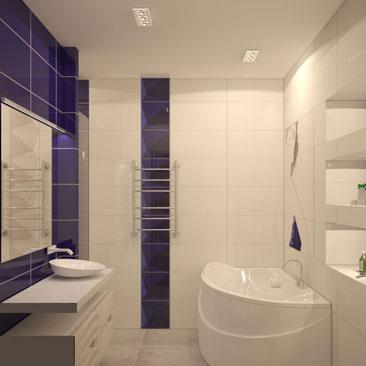 Ванная с сине-белой настенной плиткой и серой напольной - фото интерьеров. Дизайн белой ванной комнаты - фотогалерея. Дизайн интерьера Исфара.