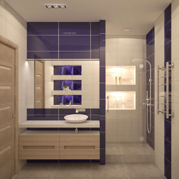 Дизайн ванной с набором сантехники. Интерьер ванной с перегородкой из гипсокартона посередине. Интерьер ванной комнаты с крупным панно над джакузи. Ванная с зонированием - фото интерьеров. Дизайн интерьера Худжанд.