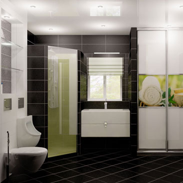 Дизайн туалета с унитазом, душевой кабиной и писсуаром. Дизайн большого санузла в коттедже с окном, писсуаром и самодельной угловой душевой кабиной. Дизайн интерьера Яссы.