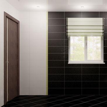 Дизайн интерьера ванной с белой и чёрной плиткой. Продолговатая плитка в большой ванной. Дизайн ванной с унитазом и писсуаром. Длинная плитка в ванной. Длинная плитка в ванной. Дизайн частного санузла с писсуаром. Дизайн интерьера Токмак.