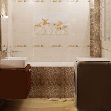 Дизайн интерьера ванной с мелкой плиткой - фотогалерея проектов. Дизайн маленькой ванной со стиральной машиной. Дизайн ванной со стеклянными полочками в нише.Дизайн интерьера маленького санузла со стандартной ванной, раковиной с тумбой и стиральной машиной. Дизайн интерьера Туркменбаши.