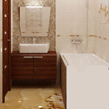 Фотогалерея дизайна интерьеров ванной комнаты - фото, визуализация, проекты, идеи и советы. Ванная с мозаикой в бежево коричневых тонах фото. Дизайн ванных комнат – примеры популярных стилей и трендов. Дизайн интерьера Рыбница.